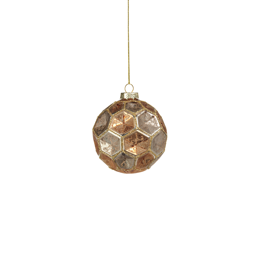 Dimpled Multicolored Ball Ornament - Gold w/Earth Tones