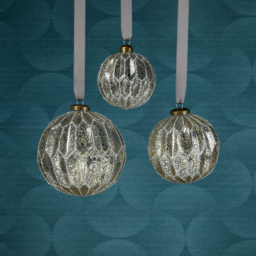 Antique Silver Glass Ball Ornaments