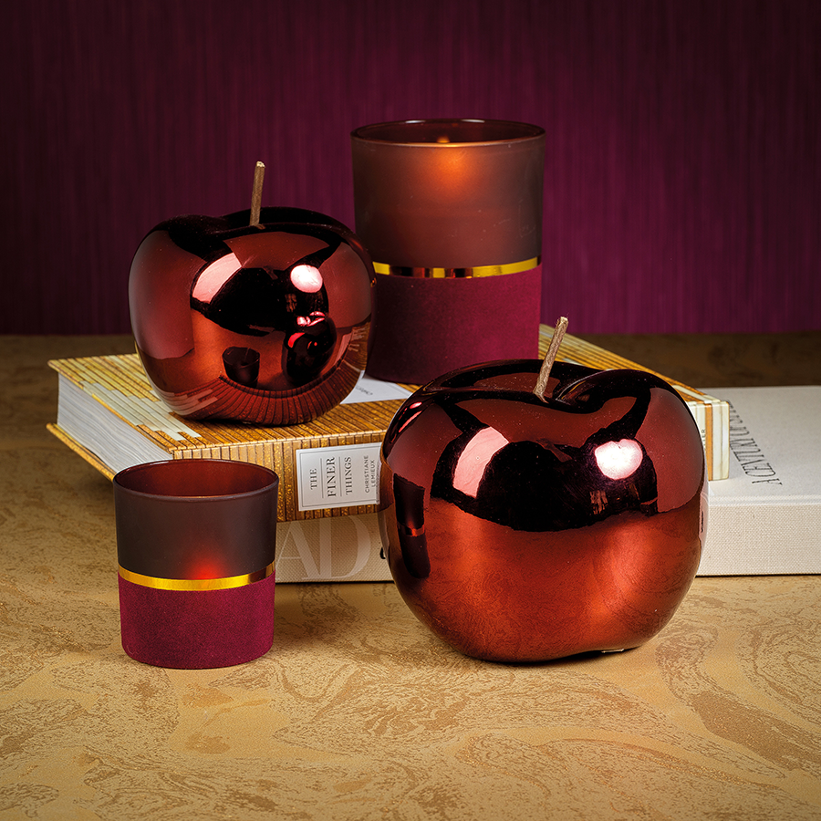 Glazed Decorative Ceramic Apple - Red