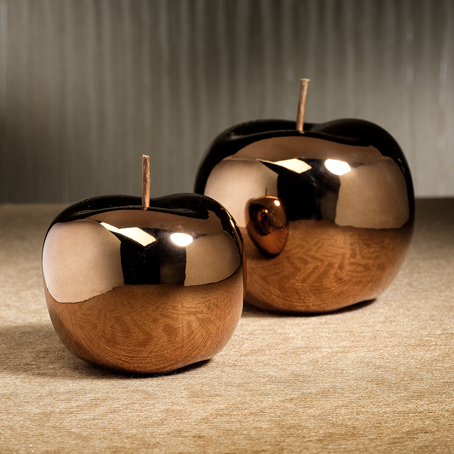 Glazed Decorative Ceramic Apple - Dark Gold
