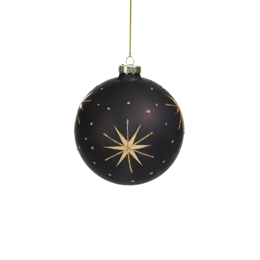 Gold & Black Star Design Ornament