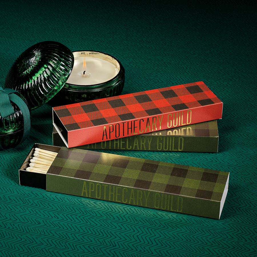 Long Matches - Red & Green Plaid - Set of 2 Assorted