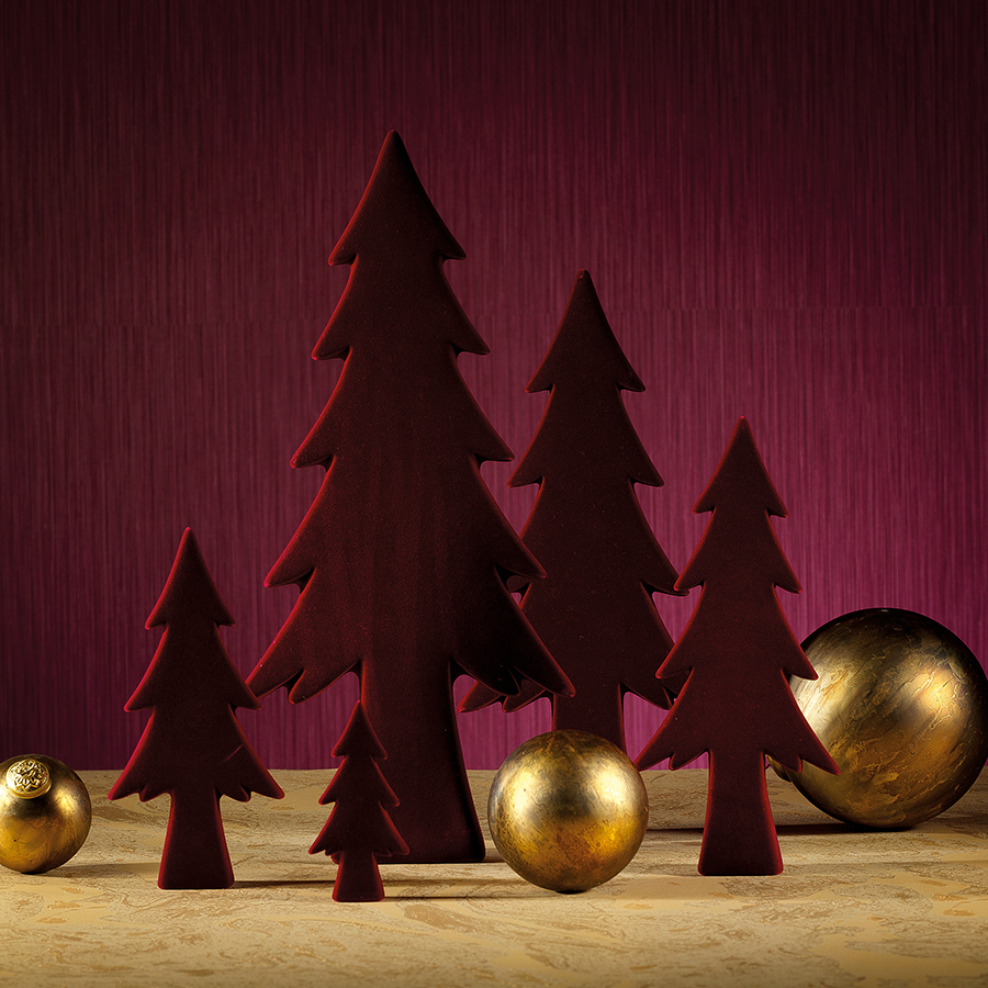 Flocked Trees - Burgundy Red