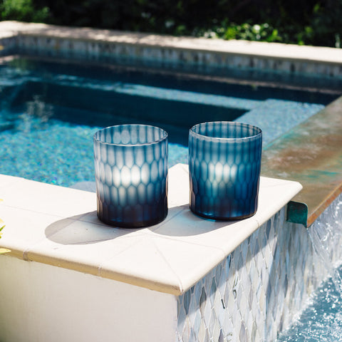 Algarve Deep Blue Cut Glass Candle Holder