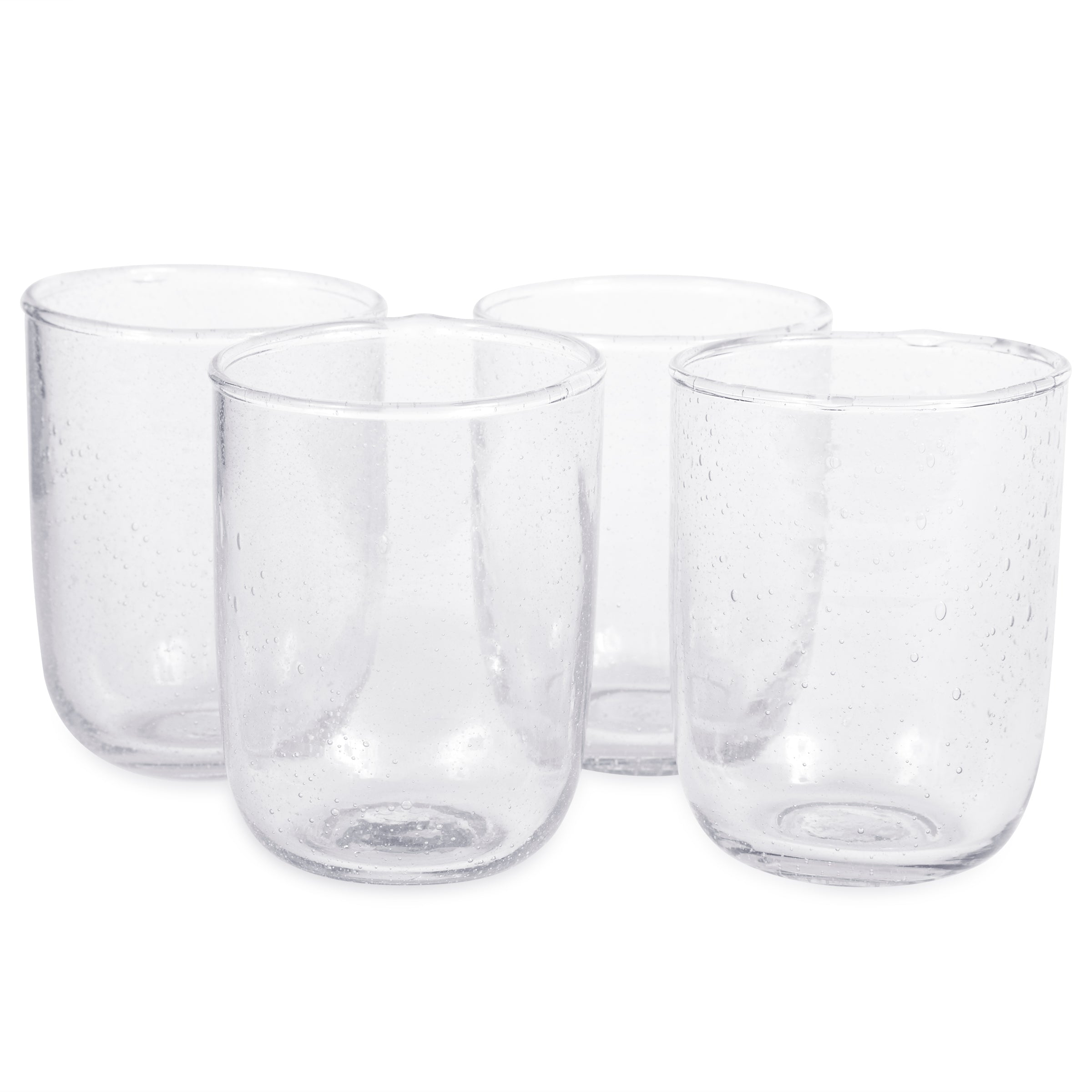 Clear Seeded Glass Tumblers - Set of 4