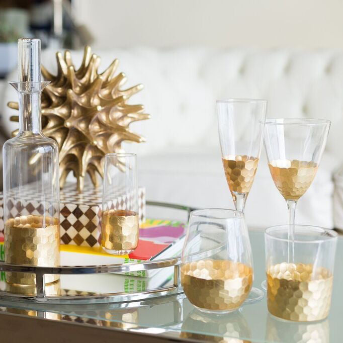 Stemless Glass w/ Gold Leaf - Gold - Set of 6