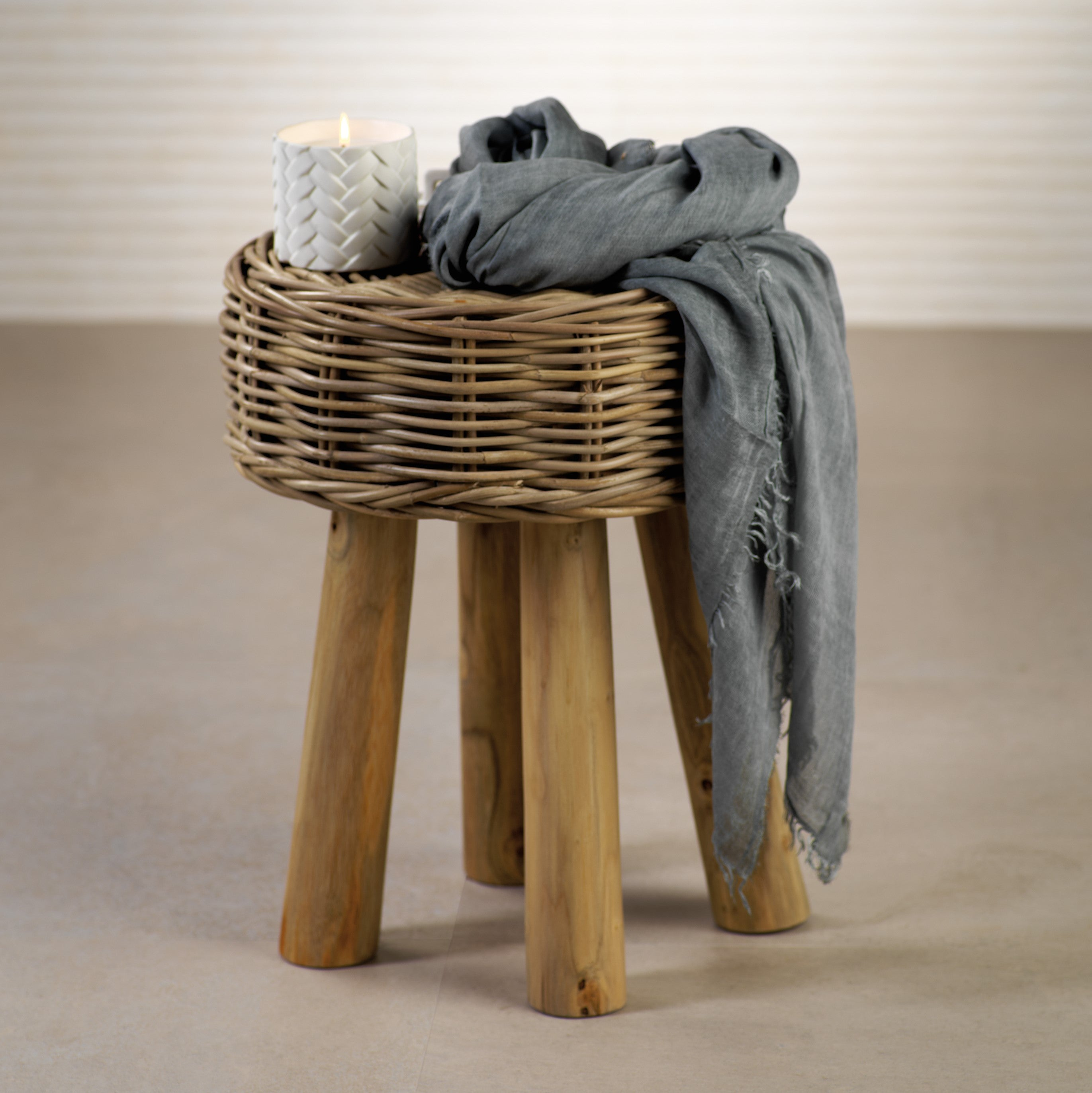 Rattan and Teakwood Stool - CARLYLE AVENUE