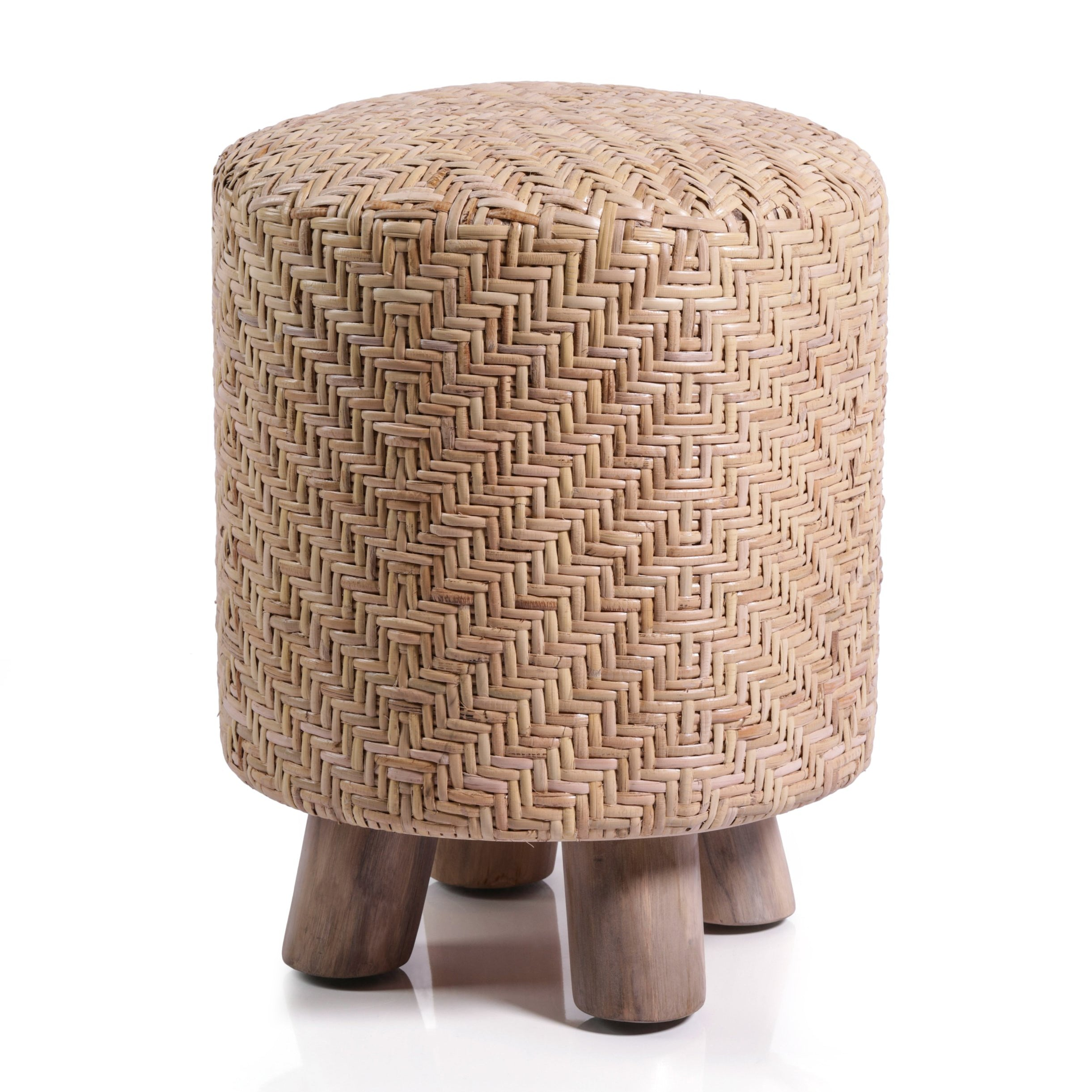 Elia Rattan and Teakwood Stool - CARLYLE AVENUE