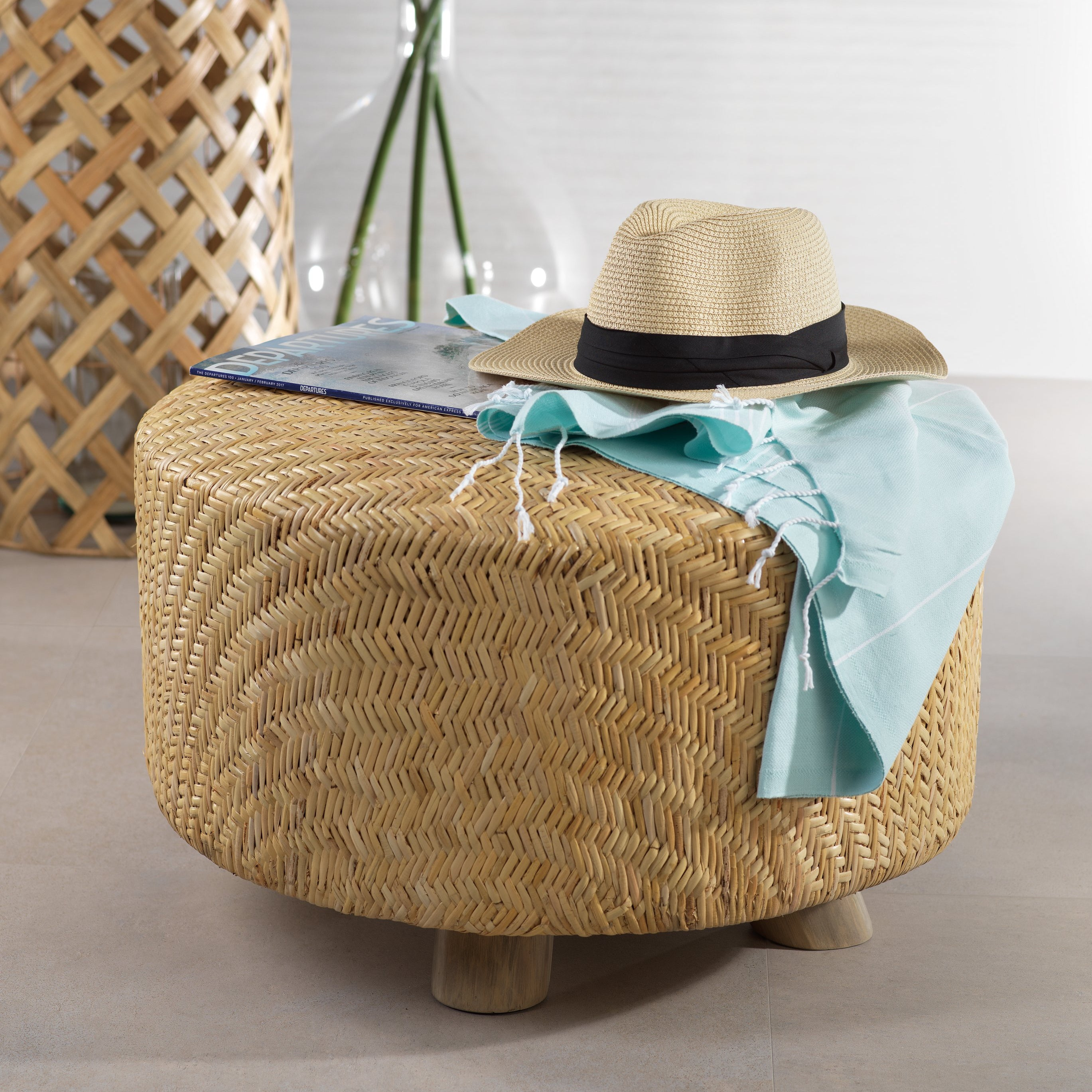 Elia Rattan and Teakwood Ottoman - CARLYLE AVENUE