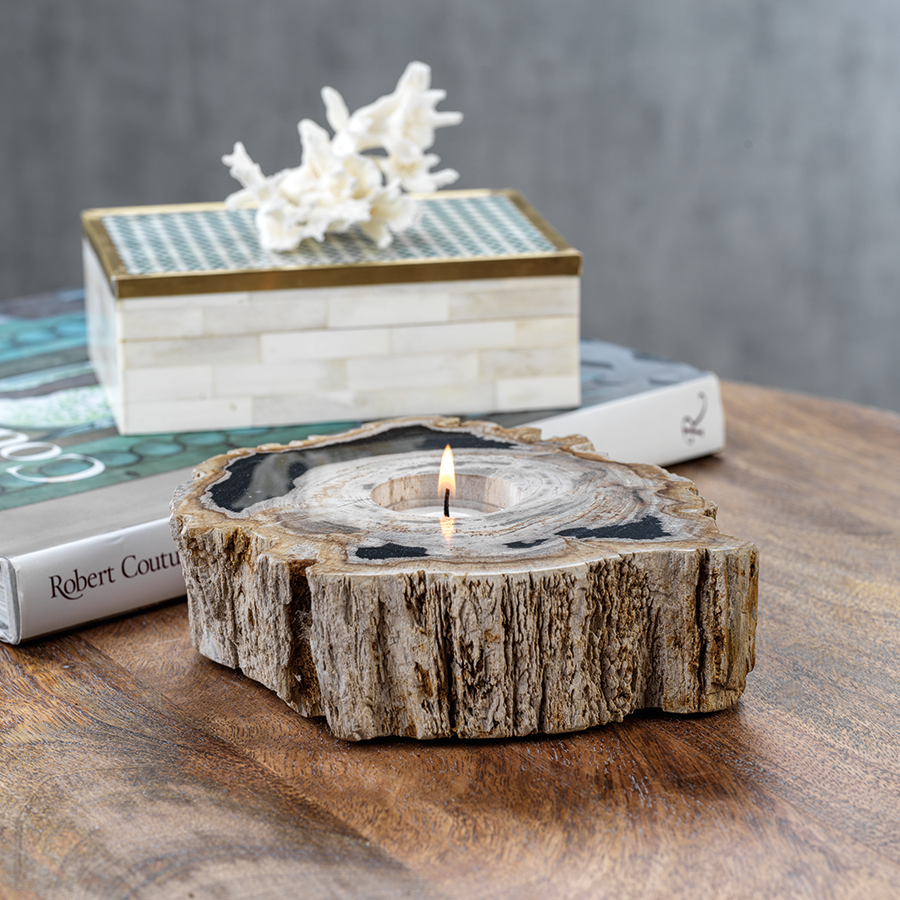 Fortaleza Petrified Wood Tealight Holder