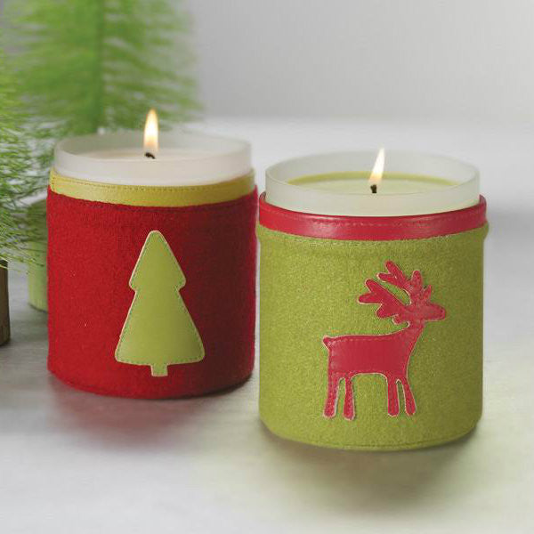 Felt Sleeved Christmas Candle - Red Felt with Green Leather Tree - CARLYLE AVENUE