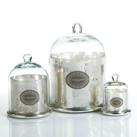Illuminazione Candle with Glass Dome - Silver