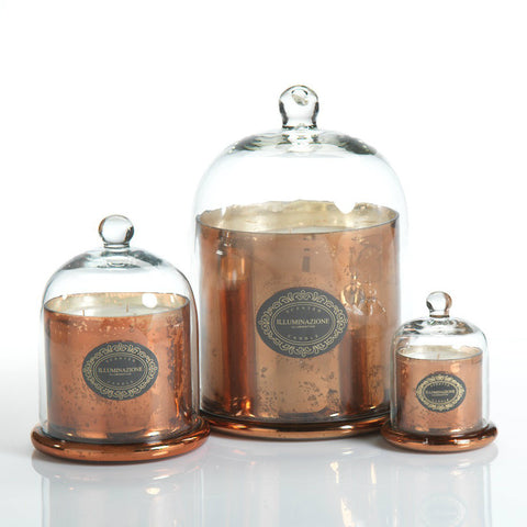 Illuminazione Candle with Glass Dome - Copper