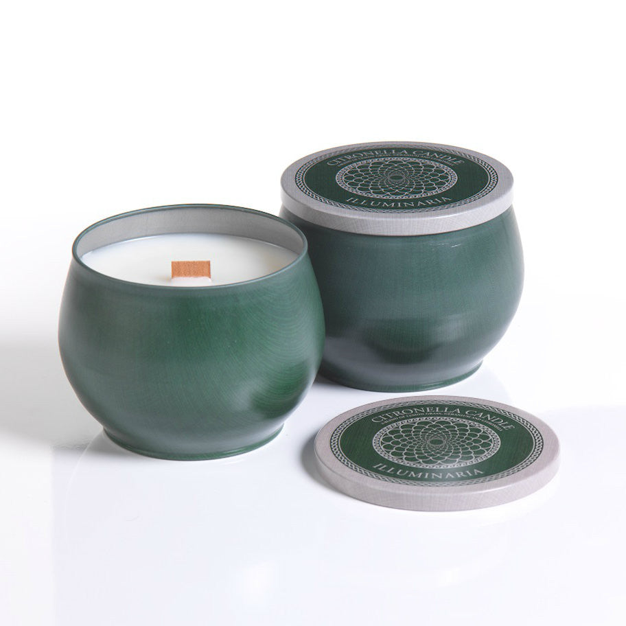 Illuminaria Citronella Round Candle Tin with Wooden Wick - CARLYLE AVENUE