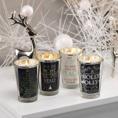 Assorted Christmas Greetings Candle Jars - Set of 4