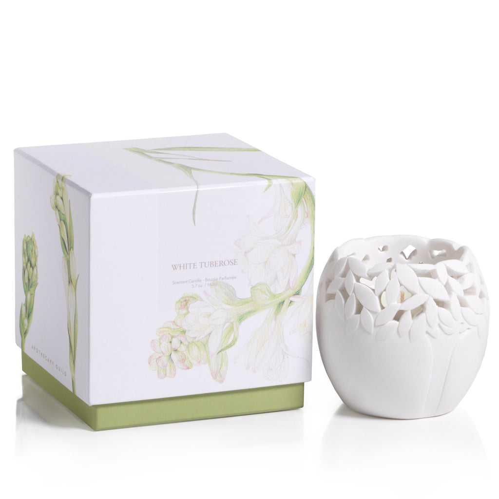 Apothecary Guild Sandstone Scented Candle - White Tuberose - CARLYLE AVENUE
