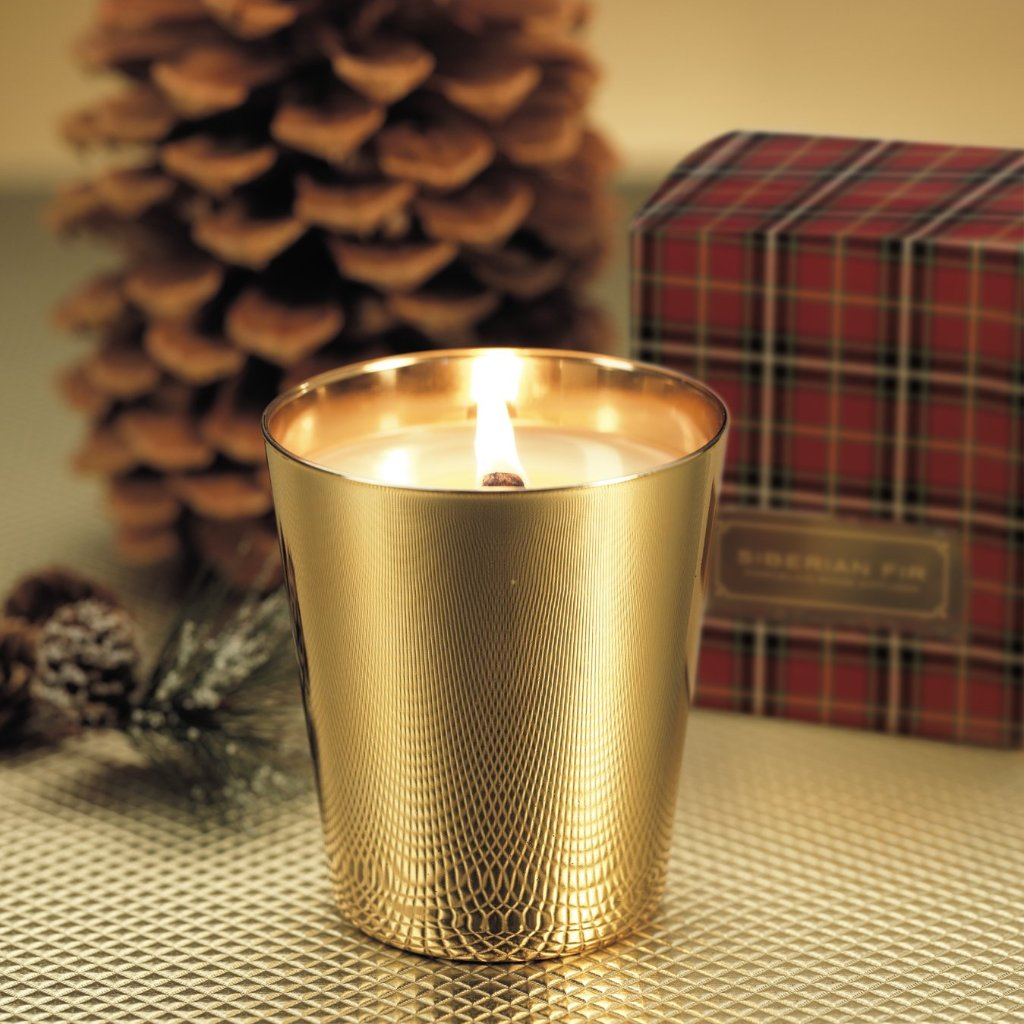 Siberian Fir Metallic Jar - GOLD