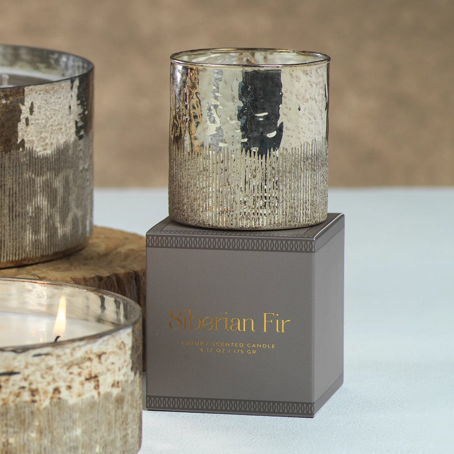Siberian Fir Scented Antique Gold Candle w/ Gift Box