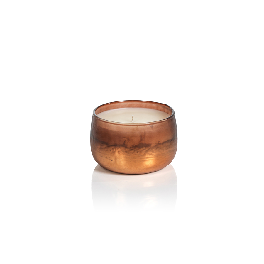 Tonal Metallic Scented Candle Bowl  - Amber & Copper