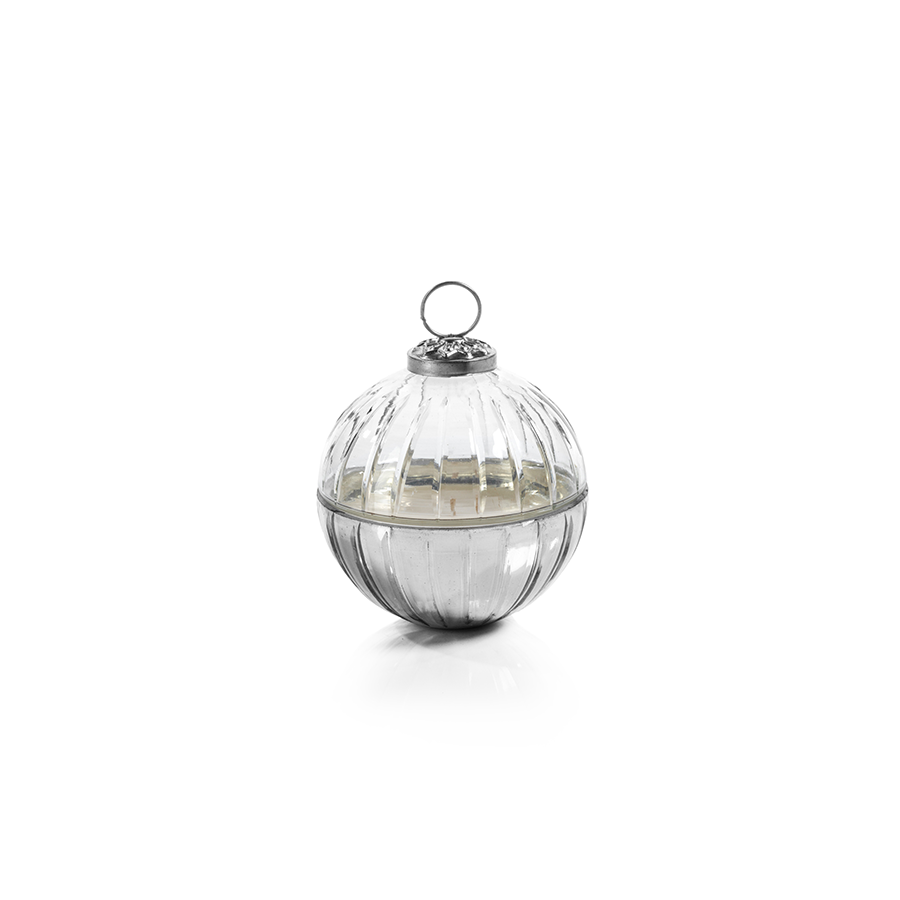 Etched Glass Ball Candle - Clear/Silver