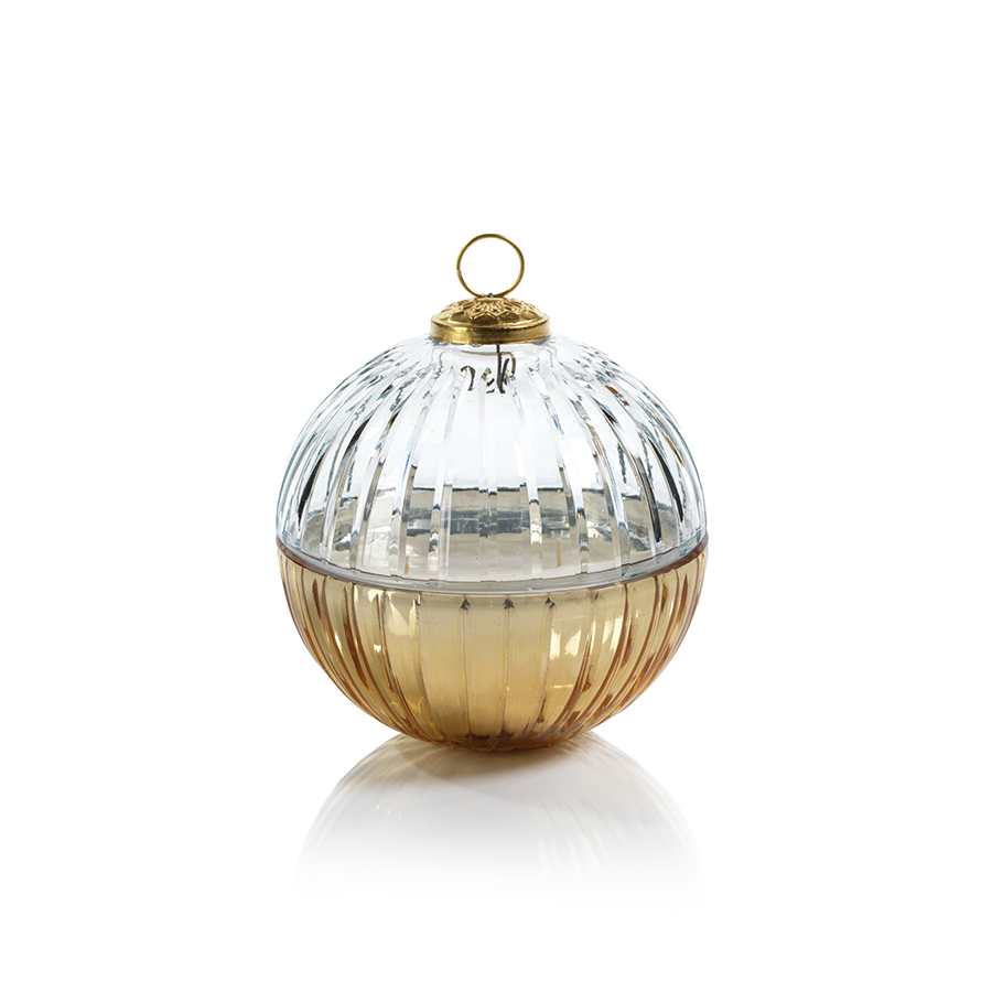 Etched Glass Ball Candle - Clear/Gold