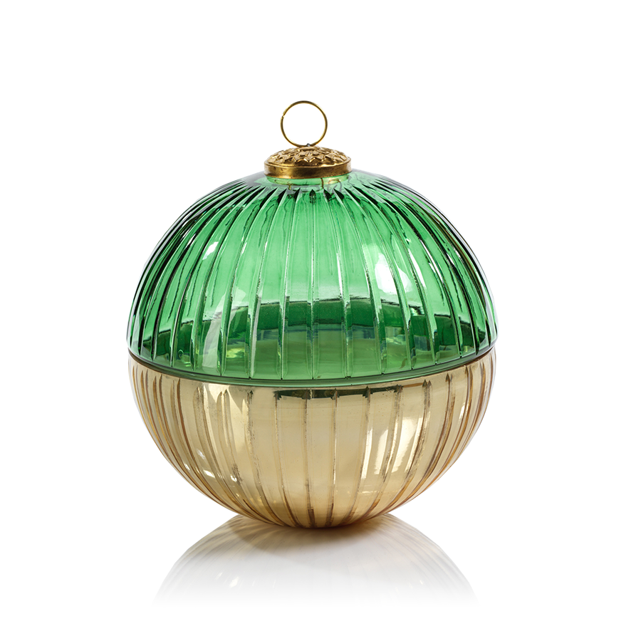 Etched Glass Ball Candle - Gold/Green