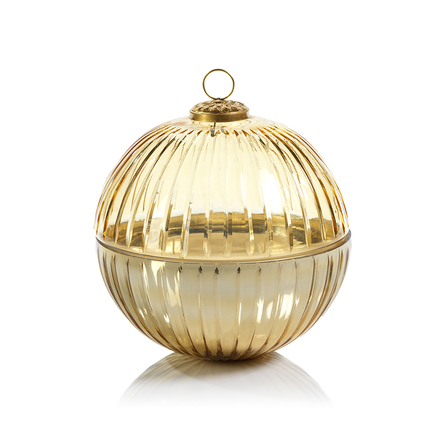 Etched Glass Ball Candle - Gold