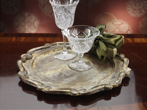 Milano Round Molded Edge Serving Tray - Gold