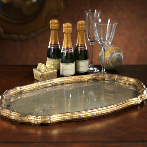 Oval Mirrored Serving Tray - Gold