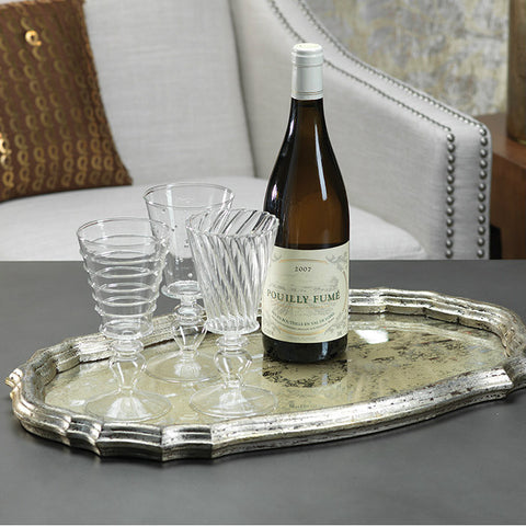 Oval Mirrored Serving Tray - Silver