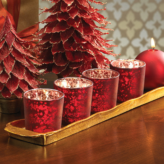 Rustic Tealight Holder - Red - Set of 6 -  - CARLYLE AVENUE