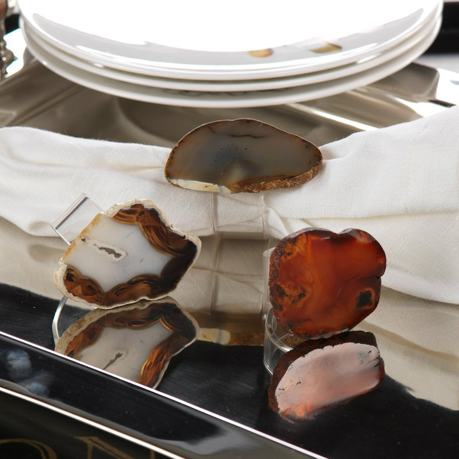 Agate and Acrylic Napkin Rings - Set of 6 - Natural Red - CARLYLE AVENUE