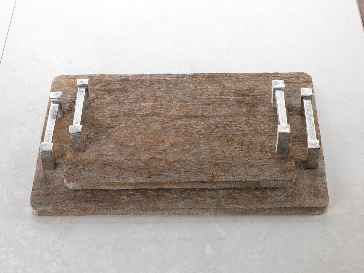 Reclaimed Wood Tray w/Raw Aluminum Handle Tray