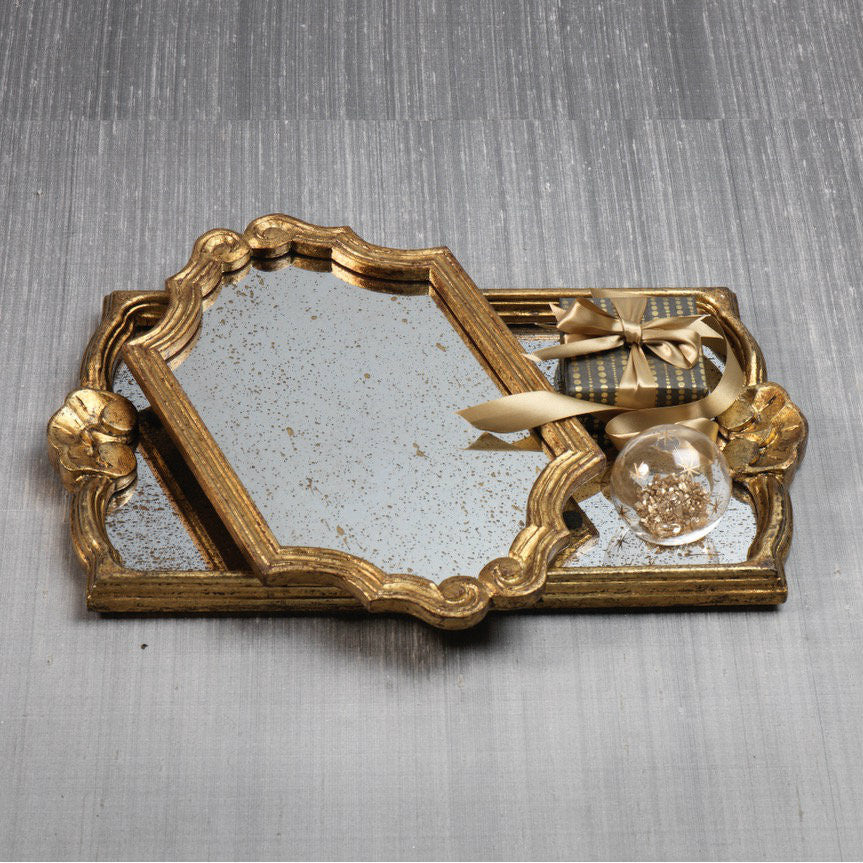 Versailles Antique Gold Wood Tray -  - CARLYLE AVENUE - 2