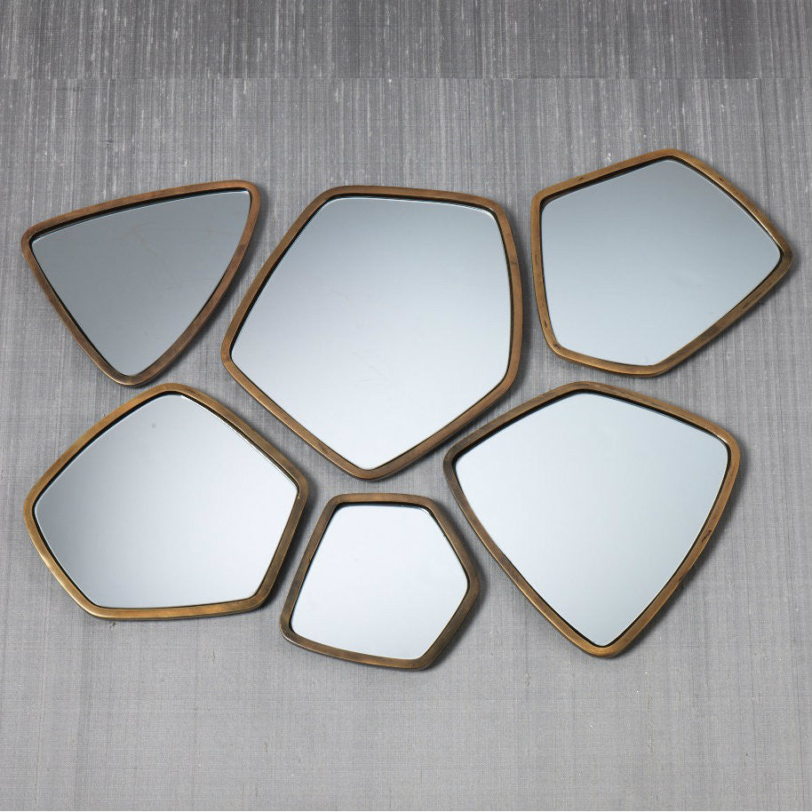 Assorted Crystalline Gold Mirrors - Set of 6 - CARLYLE AVENUE