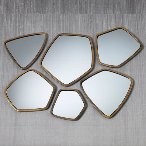 Assorted Crystalline Gold Mirrors - Set of 6