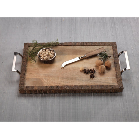 Aspen Wood Tray with Cheese Knife