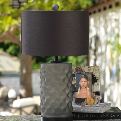 Rocco Glass and Iron Table Lamp