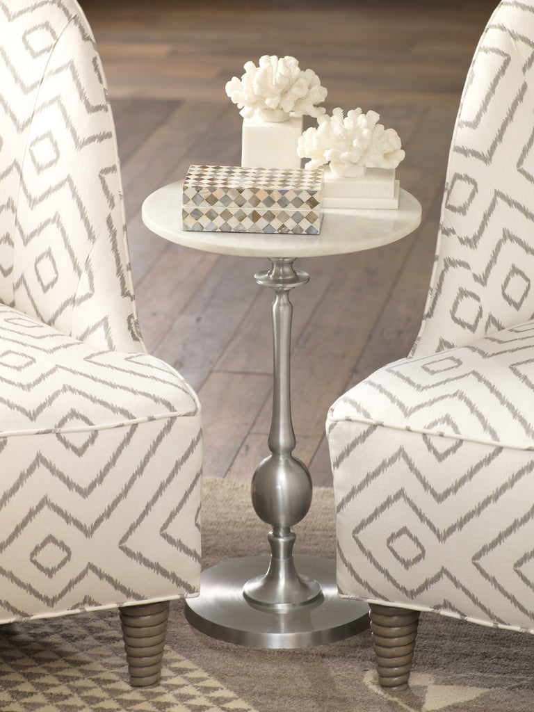 Maiori Aluminum Side Table with Marble Top