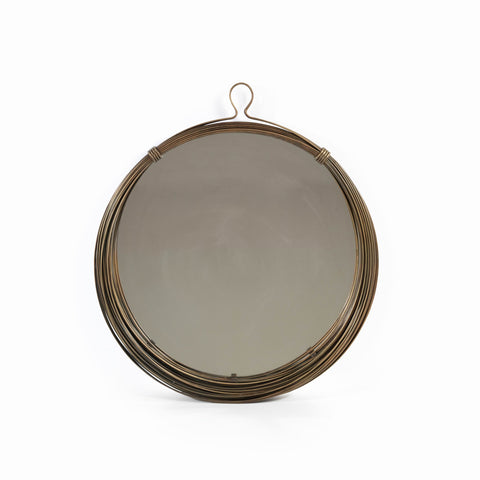 Infinity Antique Brass Wall Mirror with Loop