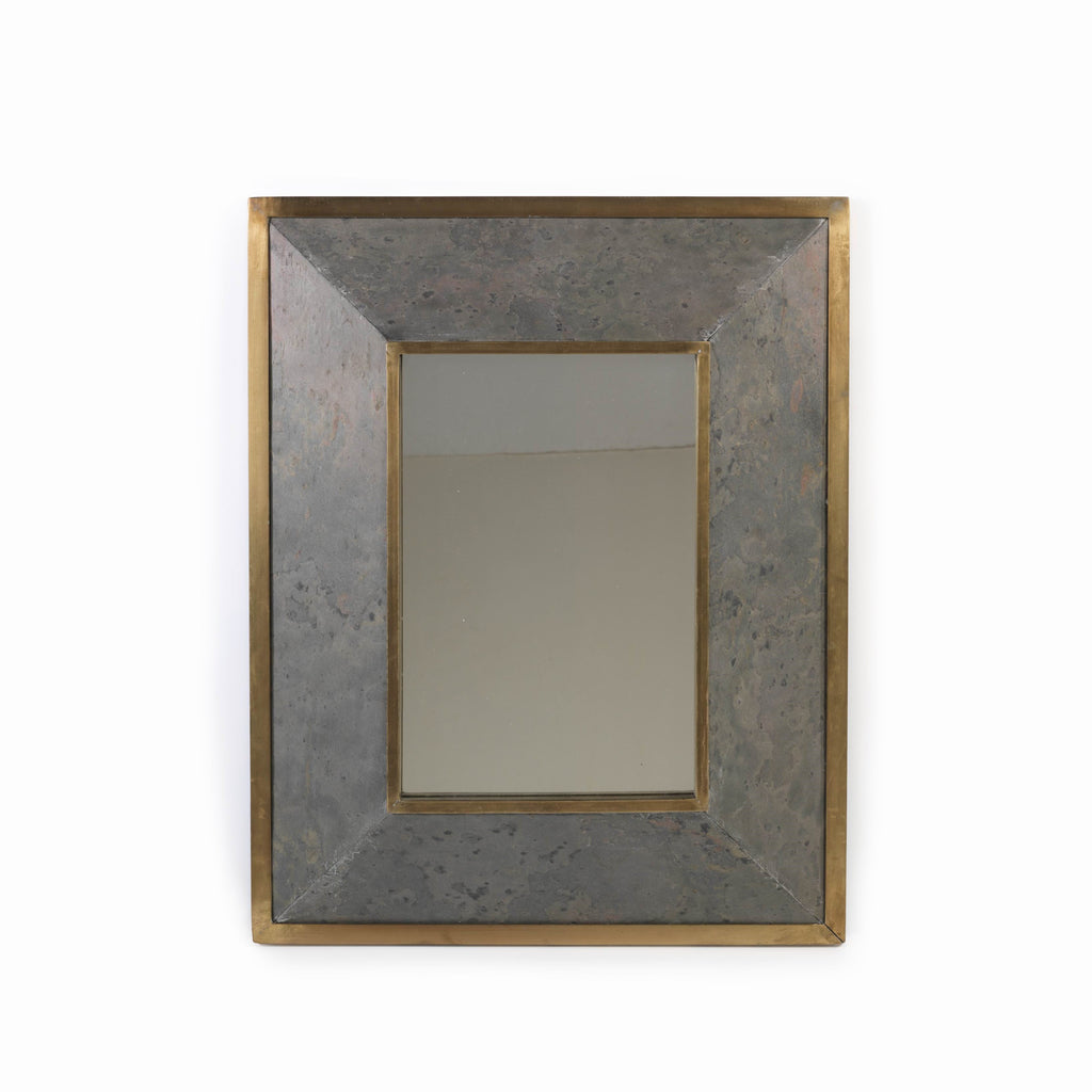 Lille Metal and Stone Beveled Wall Mirror