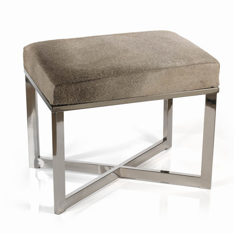 Polished Steel and Leather Stool