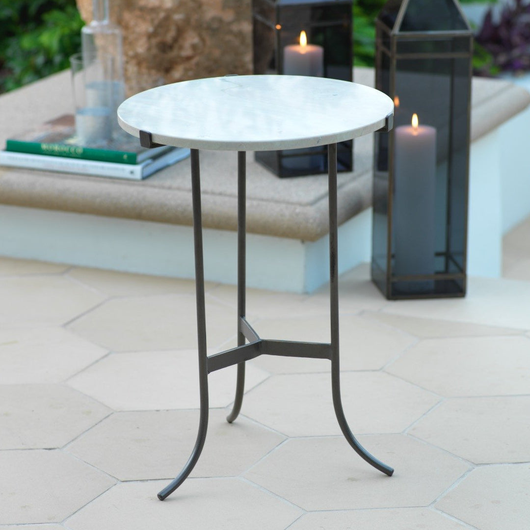 Mimouna Marble Top Side Table - CARLYLE AVENUE