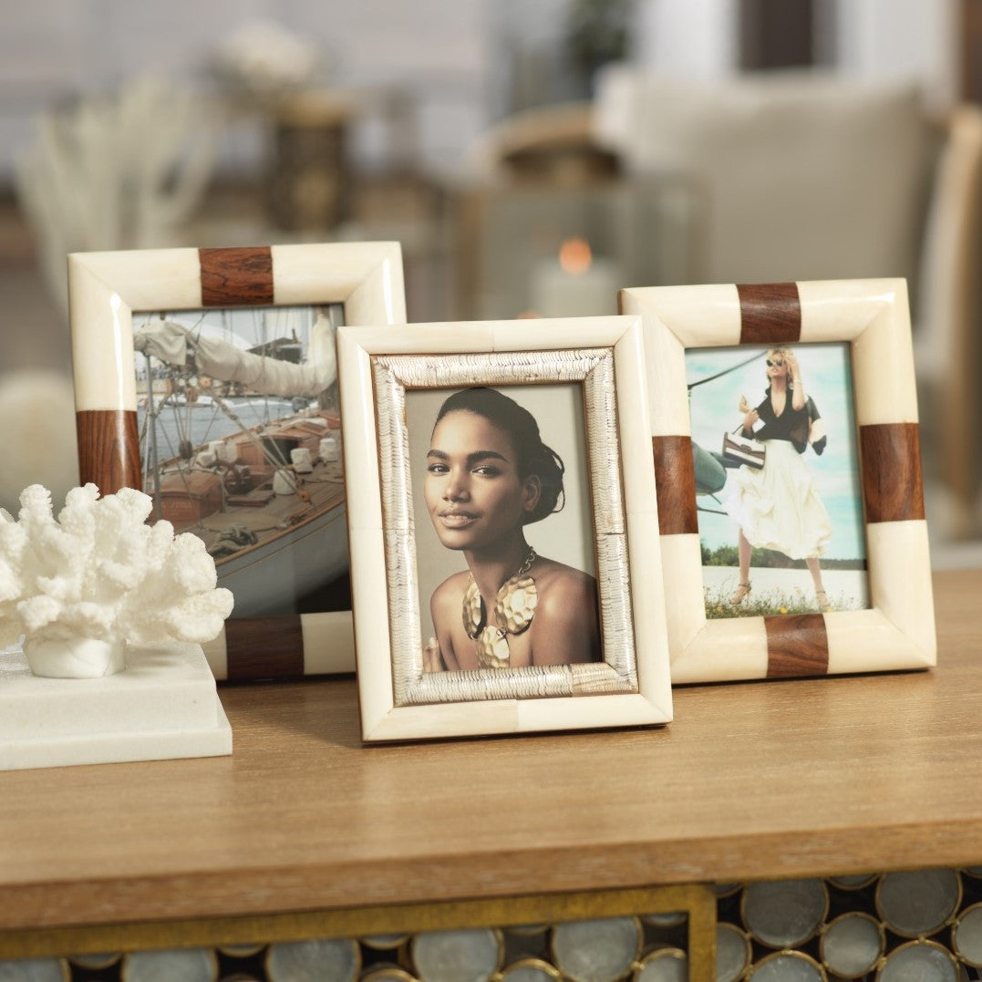 Oyster White Bone & Shagrin Horn Photo Frame - CARLYLE AVENUE