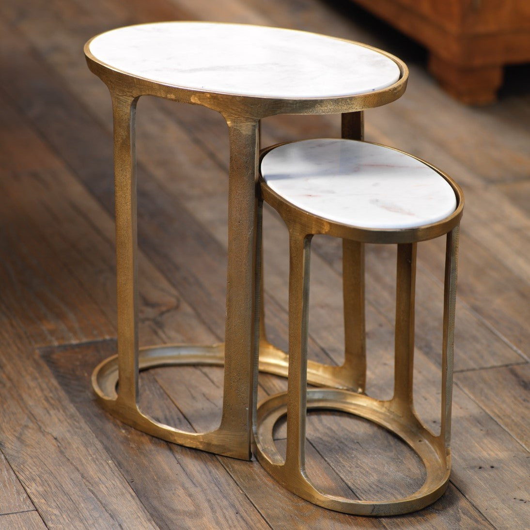 Nikki Oval Marble and Raw Aluminum Nesting Table - CARLYLE AVENUE