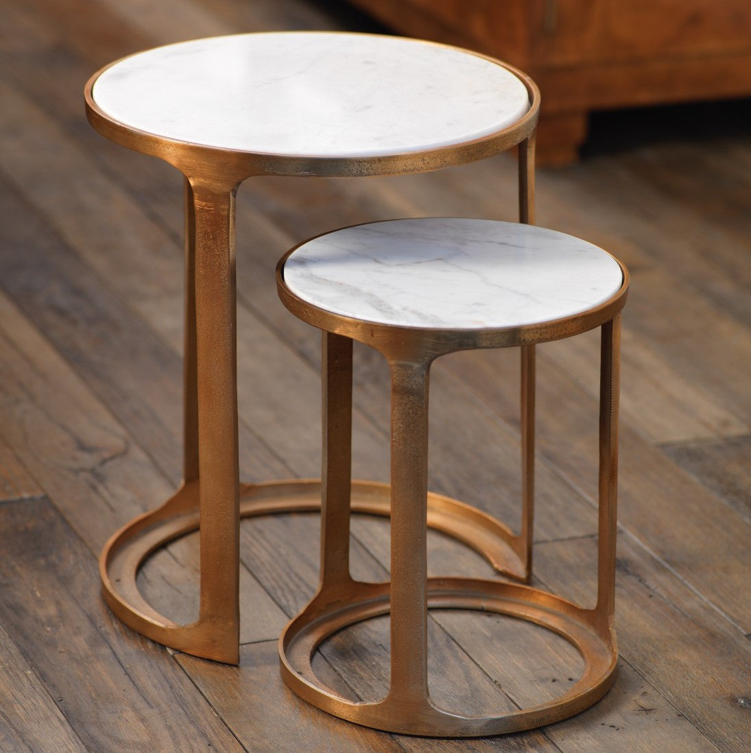 Nikki Round Marble and Raw Aluminum Nesting Table