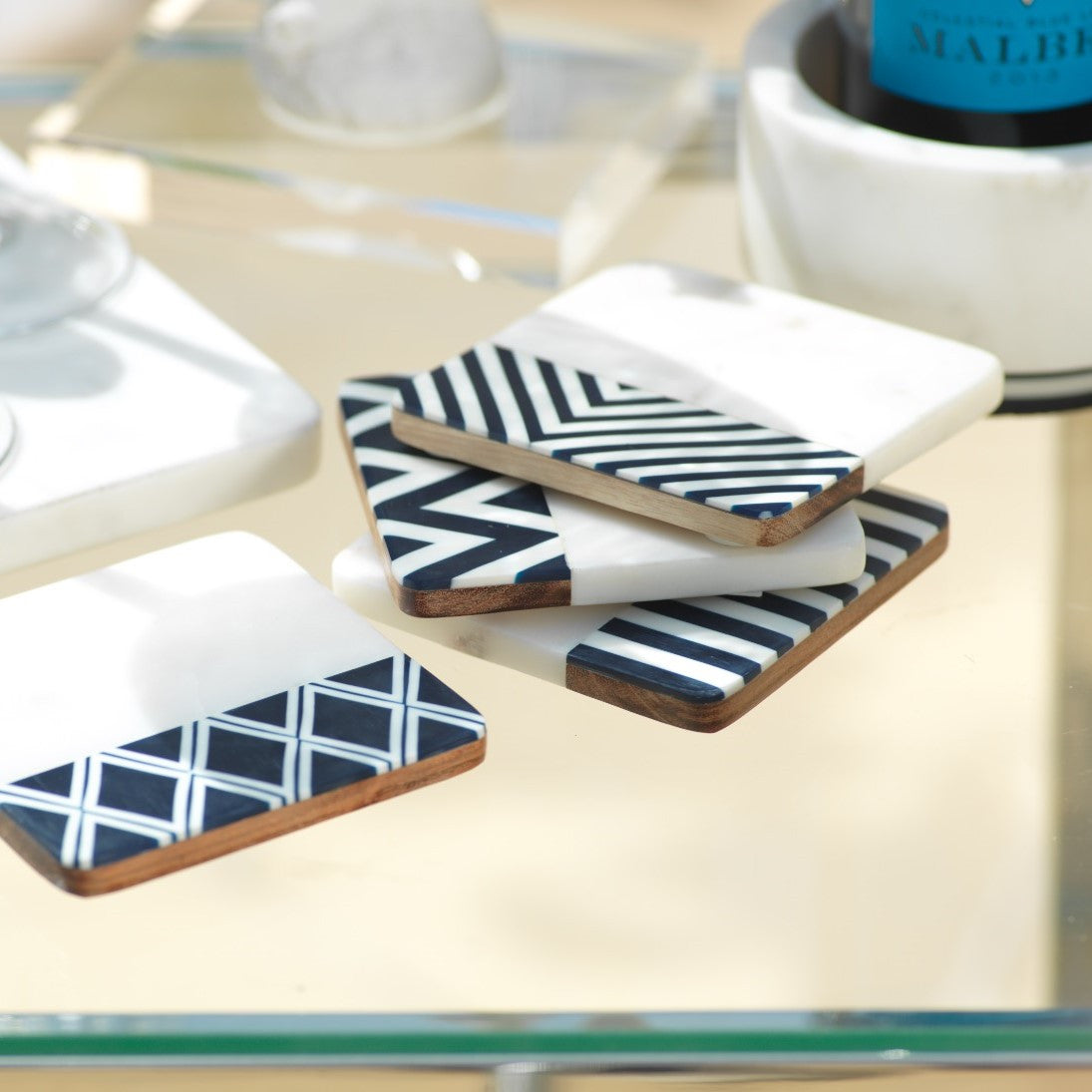 Marine Marble Set/4 Assorted Coasters - CARLYLE AVENUE