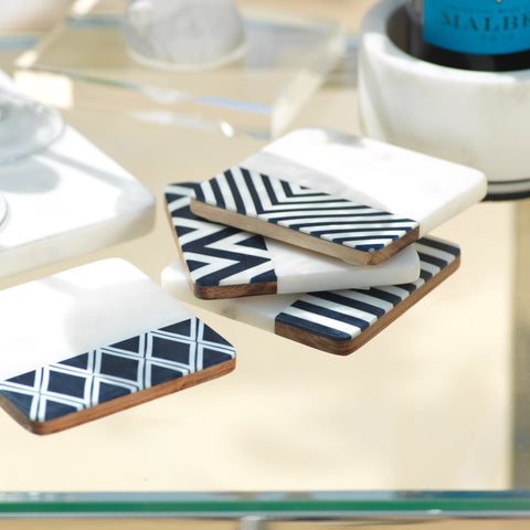 Marine Marble Set/4 Assorted Coasters