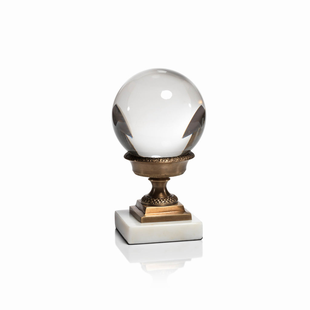 Solid Crystal Ball on Brass and Marble Base