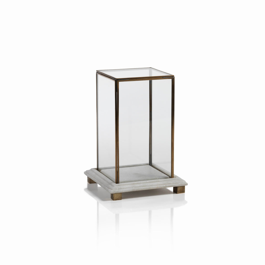 Glass Box on Marble and Brass Base